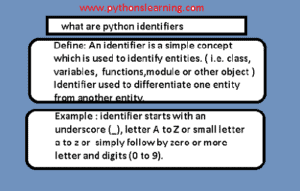 what are python identifiers