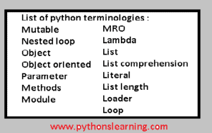 Learn different python terminologies
