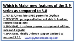 new features of the 3.9 series as compared to 3.8