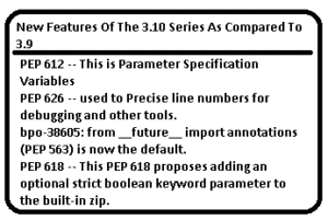 Read more about the article Which is major new features of the python 3.10 series as compared to 3.9