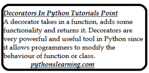 Read more about the article Decorators in Python Tutorials point
