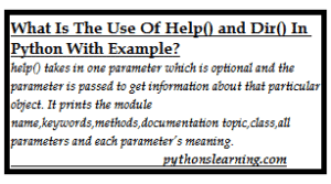 Read more about the article help() and dir() function in python tutorials point