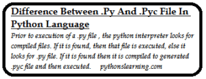 Read more about the article difference between .py and .pyc file in python language
