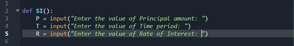 step 2 python program to calculate simple interest