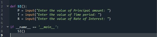 step 3 python program to calculate simple interest