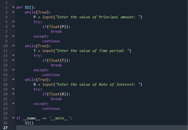 Step 9 python program to calculate simple interest