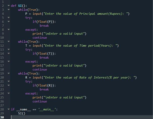 Step 10 python program to calculate simple interest