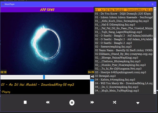 how to make your own MP3 music player in python using Tkinter