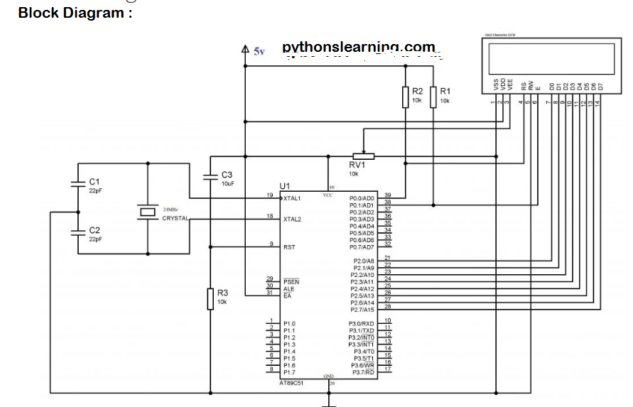 Circuit Diagram For 8 Bit Mode LCD Interfacing with 8051 microcontroller