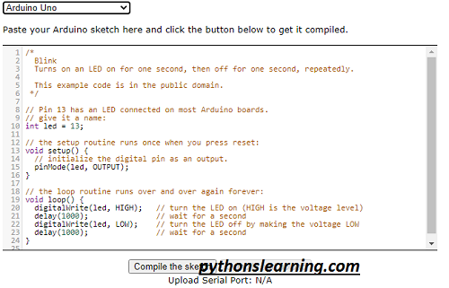 which is free online ide / compiler for arduino