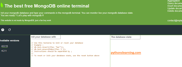 which is free online compiler / terminal for mongodb